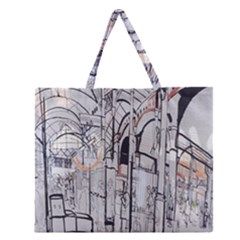 Cityscapes England London Europe United Kingdom Artwork Drawings Traditional Art Zipper Large Tote Bag