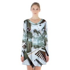 Digital Art Paint In Water Long Sleeve Velvet V Neck Dress