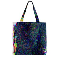 Glitch Art Zipper Grocery Tote Bag by Simbadda