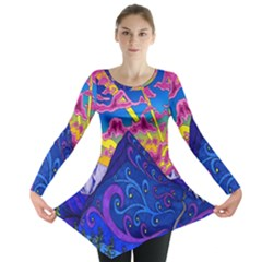 Psychedelic Colorful Lines Nature Mountain Trees Snowy Peak Moon Sun Rays Hill Road Artwork Stars Long Sleeve Tunic  by Simbadda