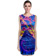 Psychedelic Colorful Lines Nature Mountain Trees Snowy Peak Moon Sun Rays Hill Road Artwork Stars Classic Sleeveless Midi Dress