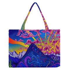 Psychedelic Colorful Lines Nature Mountain Trees Snowy Peak Moon Sun Rays Hill Road Artwork Stars Medium Zipper Tote Bag by Simbadda