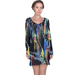 Abstract 3d Blender Colorful Long Sleeve Nightdress