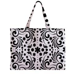 Leaf Flower Floral Black Zipper Mini Tote Bag by Alisyart