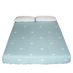 Mages Pinterest White Blue Polka Dots Crafting  Circle Fitted Sheet (queen Size) by Alisyart
