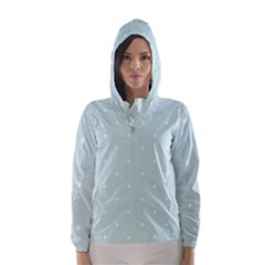 Mages Pinterest White Blue Polka Dots Crafting  Circle Hooded Wind Breaker (women)