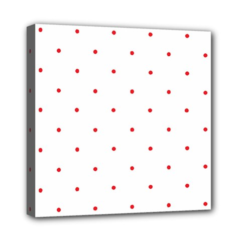 Mages Pinterest White Red Polka Dots Crafting Circle Mini Canvas 8  X 8  by Alisyart