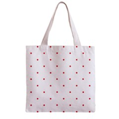 Mages Pinterest White Red Polka Dots Crafting Circle Zipper Grocery Tote Bag by Alisyart