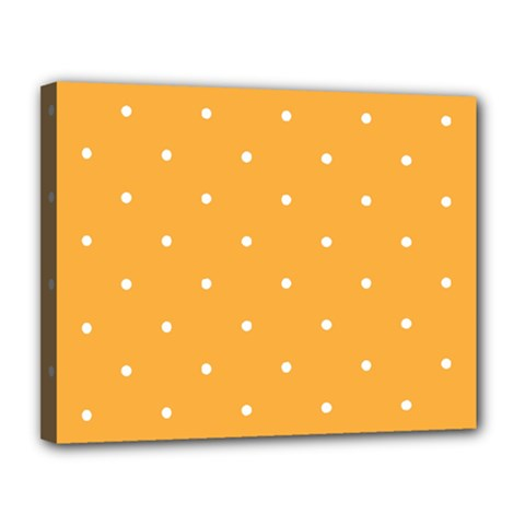 Mages Pinterest White Orange Polka Dots Crafting Canvas 14  X 11  by Alisyart