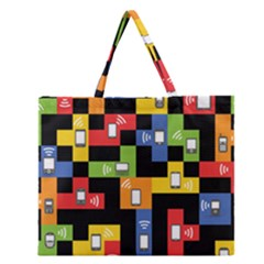 Mobile Phone Signal Color Rainbow Zipper Large Tote Bag by Alisyart