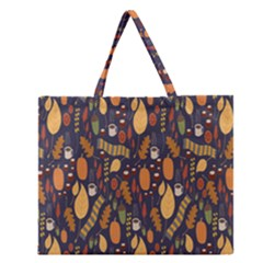 Macaroons Autumn Wallpaper Coffee Zipper Large Tote Bag by Alisyart