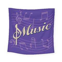 Music Flyer Purple Note Blue Tone Square Tapestry (small) by Alisyart