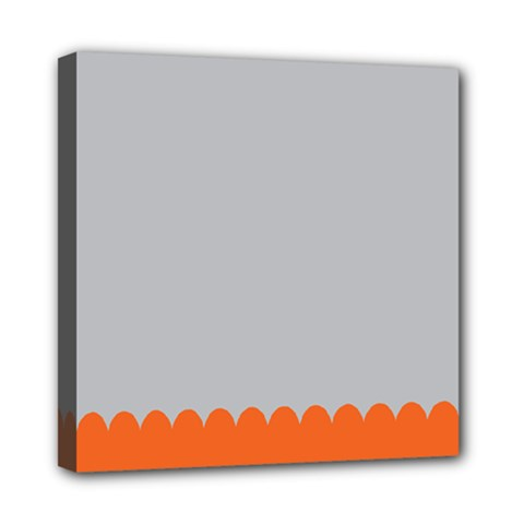 Orange Gray Scallop Wallpaper Wave Mini Canvas 8  X 8  by Alisyart
