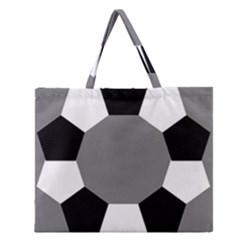 Pentagons Decagram Plain Black Gray White Triangle Zipper Large Tote Bag by Alisyart