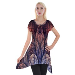 Abstract Fractal Short Sleeve Side Drop Tunic