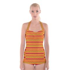 Lines Boyleg Halter Swimsuit