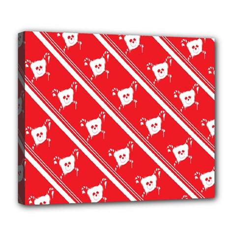 Panda Bear Face Line Red White Deluxe Canvas 24  X 20   by Alisyart