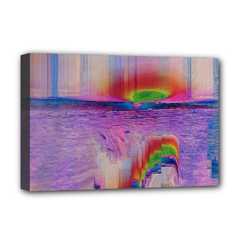 Glitch Art Abstract Deluxe Canvas 18  X 12