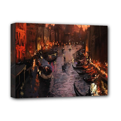River Venice Gondolas Italy Artwork Painting Deluxe Canvas 16  X 12