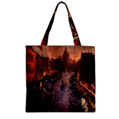 River Venice Gondolas Italy Artwork Painting Zipper Grocery Tote Bag by Simbadda