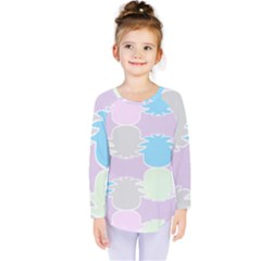 Pineapple Puffle Blue Pink Green Purple Kids  Long Sleeve Tee by Alisyart