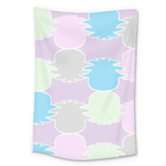 Pineapple Puffle Blue Pink Green Purple Large Tapestry by Alisyart