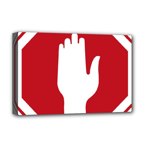 Road Sign Stop Hand Finger Deluxe Canvas 18  X 12   by Alisyart