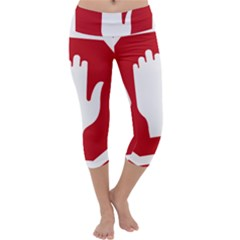 Road Sign Stop Hand Finger Capri Yoga Leggings by Alisyart