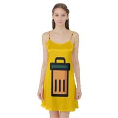 Trash Bin Icon Yellow Satin Night Slip by Alisyart