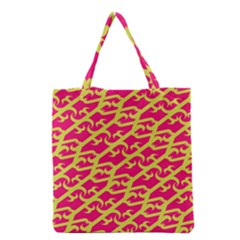 Typeface Variety Postcards Unique Illustration Yellow Red Grocery Tote Bag by Alisyart