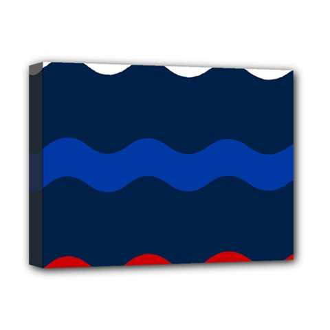 Wave Line Waves Blue White Red Flag Deluxe Canvas 16  X 12   by Alisyart