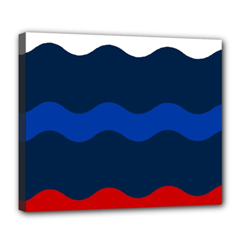 Wave Line Waves Blue White Red Flag Deluxe Canvas 24  X 20   by Alisyart