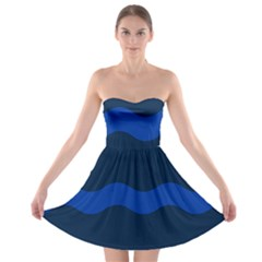 Wave Line Waves Blue White Red Flag Strapless Bra Top Dress