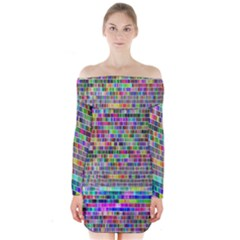 Plasma Gradient Phalanx Long Sleeve Off Shoulder Dress by Simbadda
