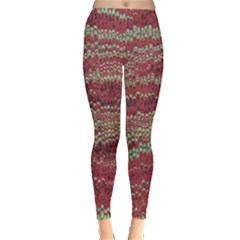 Scaly Pattern Colour Green Pink Leggings  by Alisyart