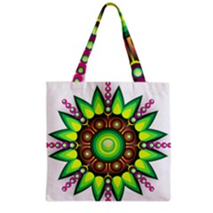 Design Elements Star Flower Floral Circle Grocery Tote Bag by Alisyart