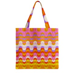 Dna Early Childhood Wave Chevron Rainbow Color Grocery Tote Bag by Alisyart