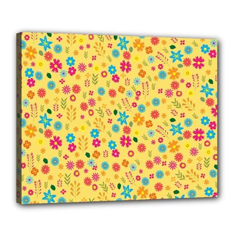 Floral Pattern Canvas 20  X 16  by Valentinaart