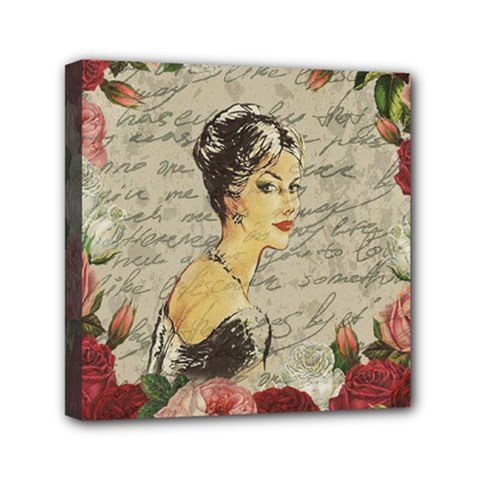 Vintage Girl Mini Canvas 6  X 6  by Valentinaart