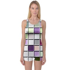 Color Tiles Abstract Mosaic Background One Piece Boyleg Swimsuit by Simbadda