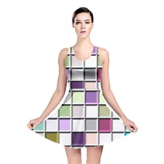 Color Tiles Abstract Mosaic Background Reversible Skater Dress by Simbadda