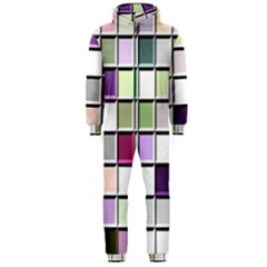 Color Tiles Abstract Mosaic Background Hooded Jumpsuit (men)  by Simbadda