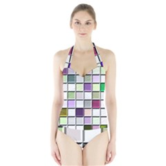 Color Tiles Abstract Mosaic Background Halter Swimsuit by Simbadda