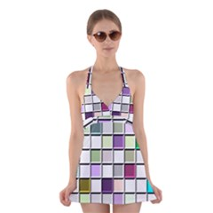 Color Tiles Abstract Mosaic Background Halter Swimsuit Dress by Simbadda