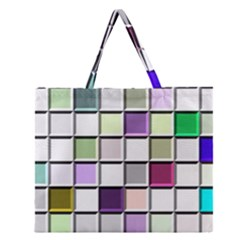 Color Tiles Abstract Mosaic Background Zipper Large Tote Bag by Simbadda