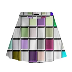 Color Tiles Abstract Mosaic Background Mini Flare Skirt by Simbadda