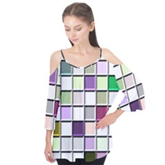 Color Tiles Abstract Mosaic Background Flutter Tees by Simbadda