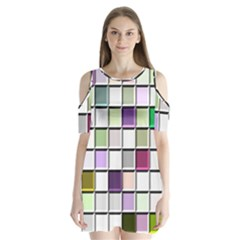 Color Tiles Abstract Mosaic Background Shoulder Cutout Velvet  One Piece by Simbadda