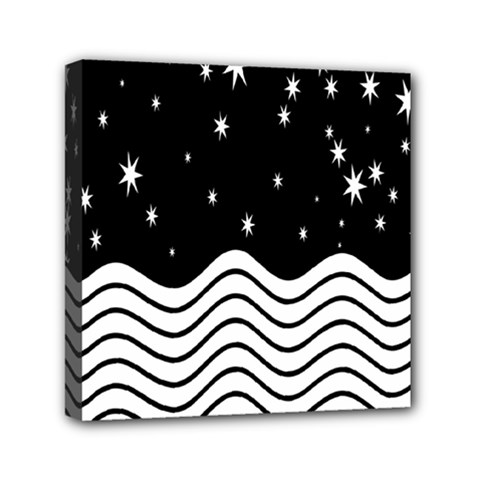 Black And White Waves And Stars Abstract Backdrop Clipart Mini Canvas 6  X 6  by Simbadda