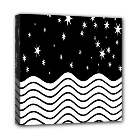 Black And White Waves And Stars Abstract Backdrop Clipart Mini Canvas 8  X 8  by Simbadda